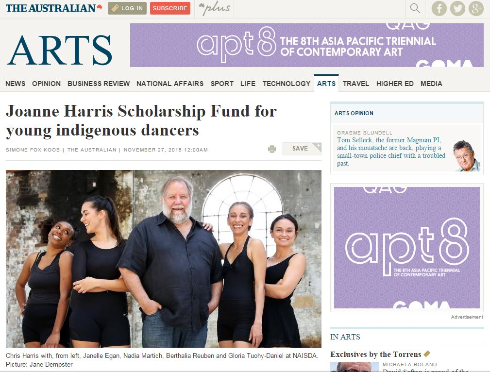 The Australian, 27 November, Joanne Harris Scholarship Fund