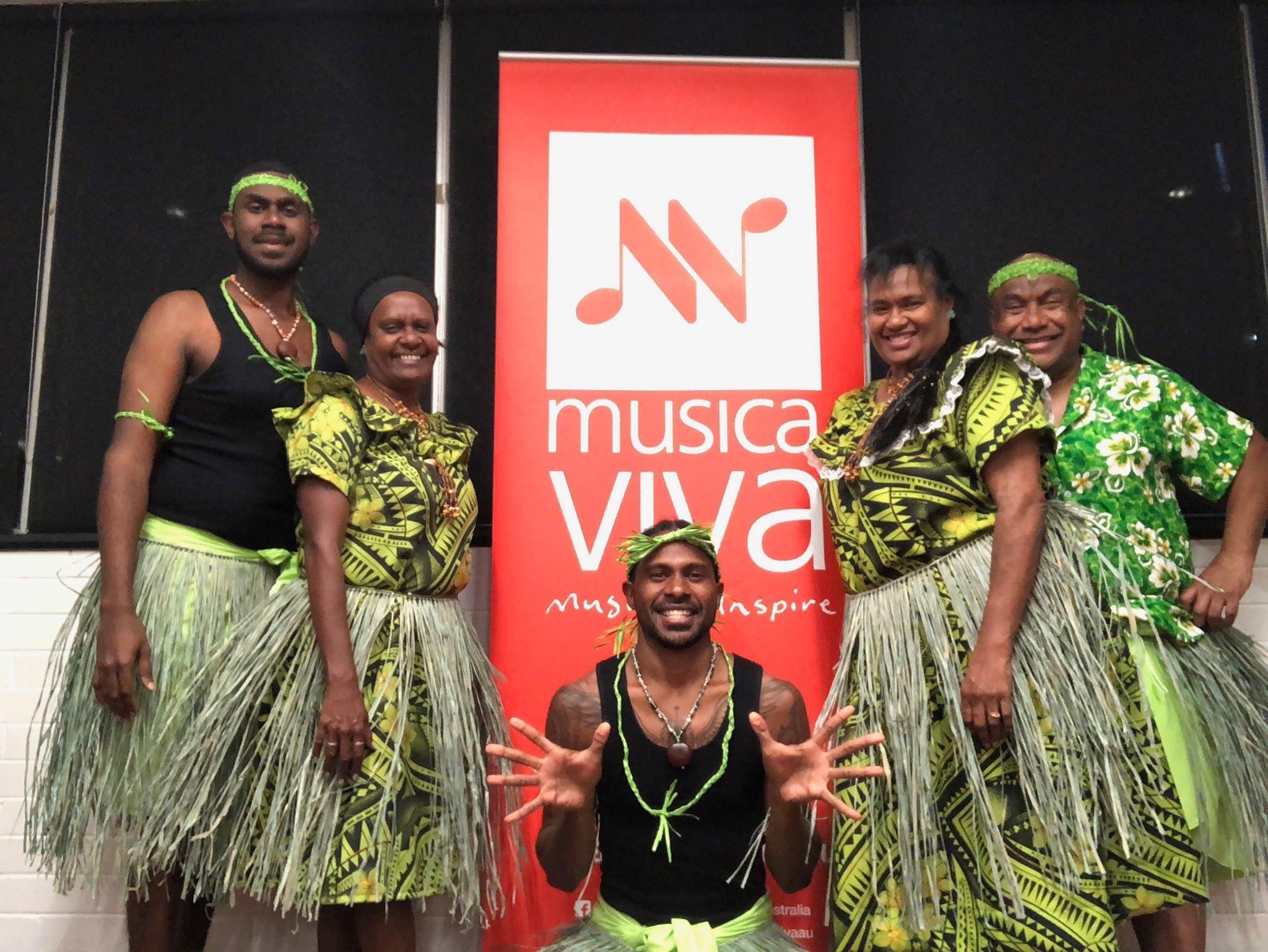Dujon Niue (far right) and the Wyniss dance ensemble at Musica Viva